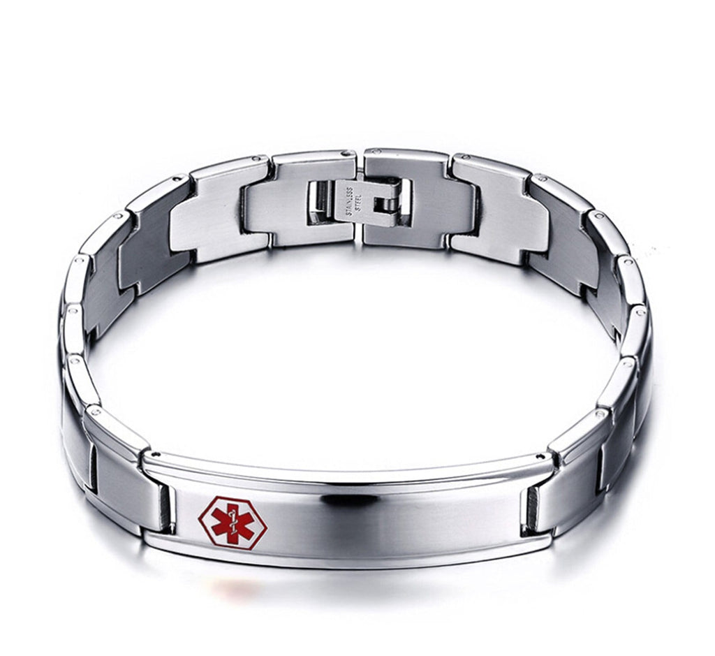 Medical Alert Id Bracelet for Women Stainless Steel Bracelets for Women Metal Bar Medical Signs