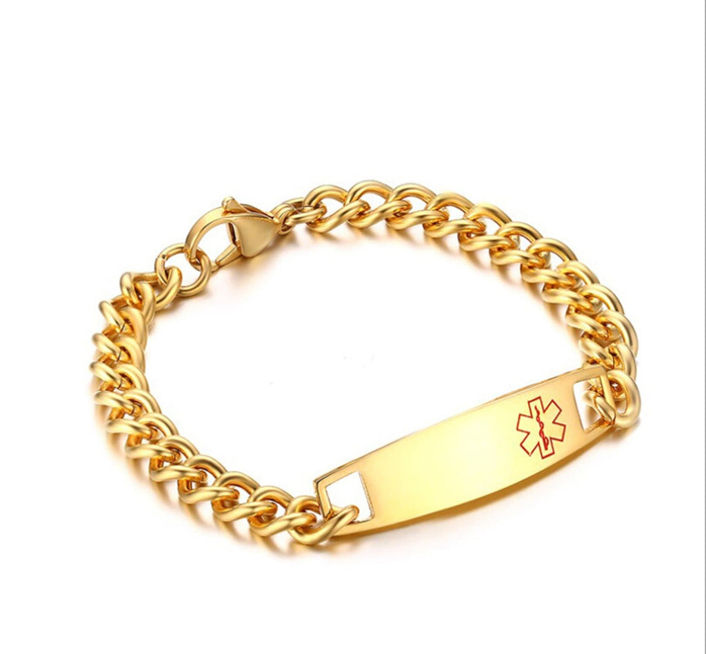 Medic Alert Bracelet Gold Mens Stainless Steel Bracelet Chain Curb Chain Tag Medical Signs