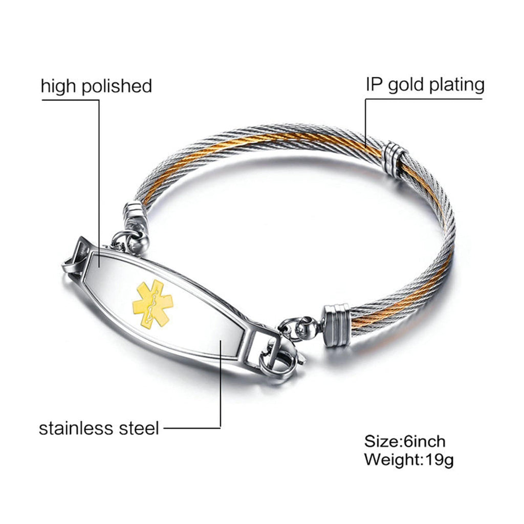 Medic Bracelets for Women Men Bracelets Stainless Steel MultiStrand Metal Bar Medical Signs