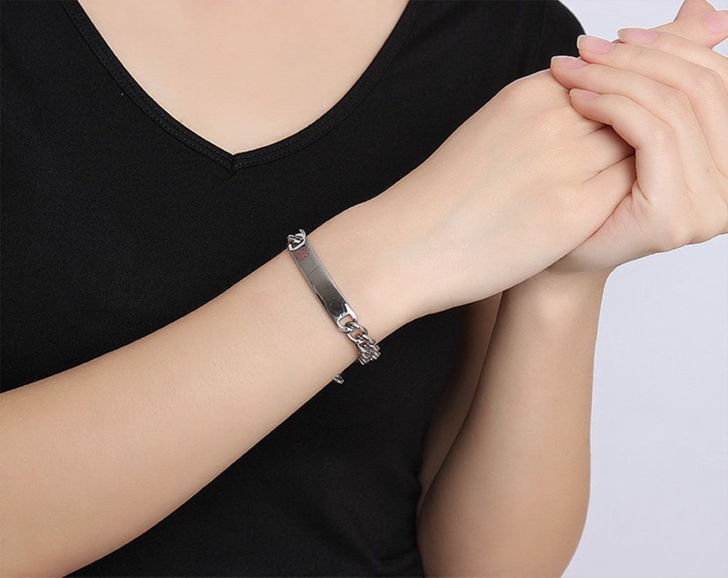 Medical Alert Id Bracelets for Women Stainless Steel Bracelet Women Curb Chain Tag Medical Signs