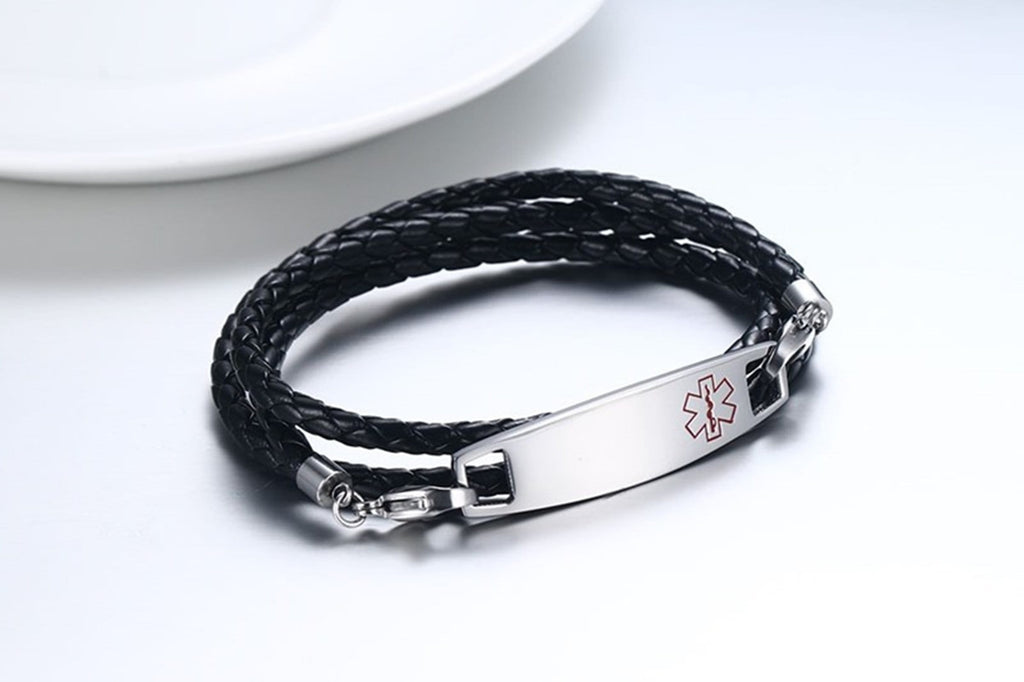 Medical Alert Bracelet Leather Mens Leather Bracelets Braided Metal Bar Medical Signs