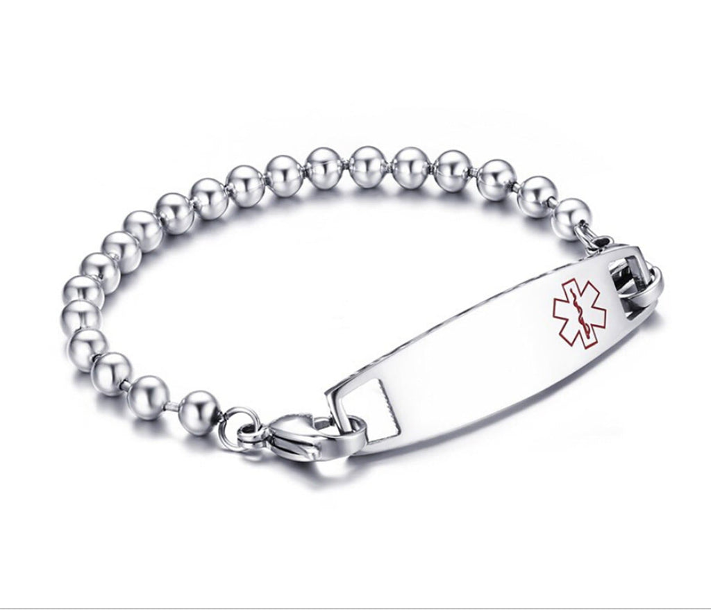 Medical Id Bracelet Women Bracelet Stainless Steel Men Metal Bar Medical Signs
