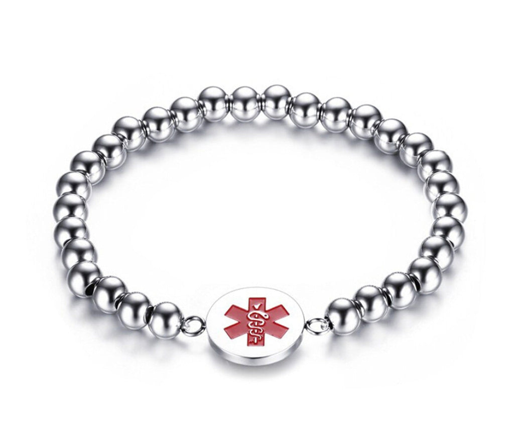 Medical Alert Bracelet for Women Stainless Steel Bracelet for Women Coin Charms Medical Signs