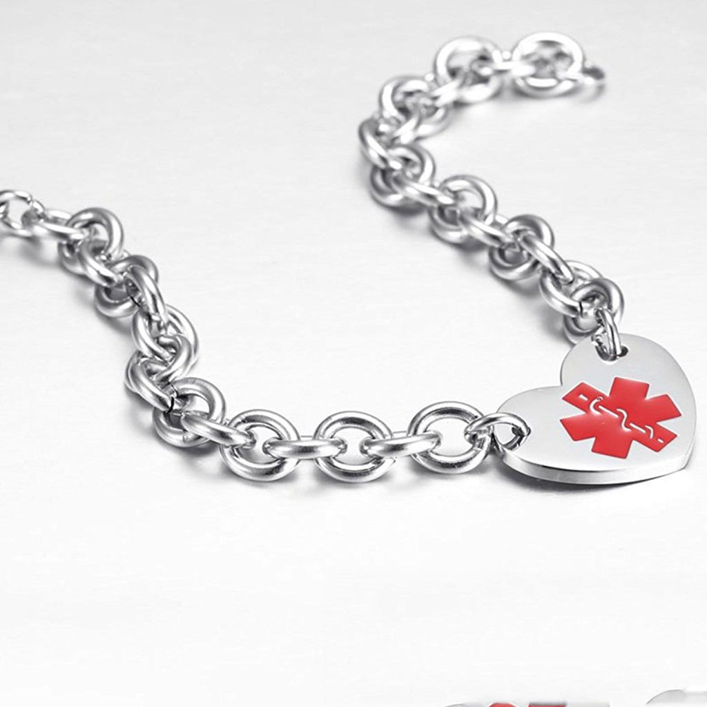 Medic Alert Bracelet Women Stainless Steel Bracelet Men Heart Charms Medical Signs
