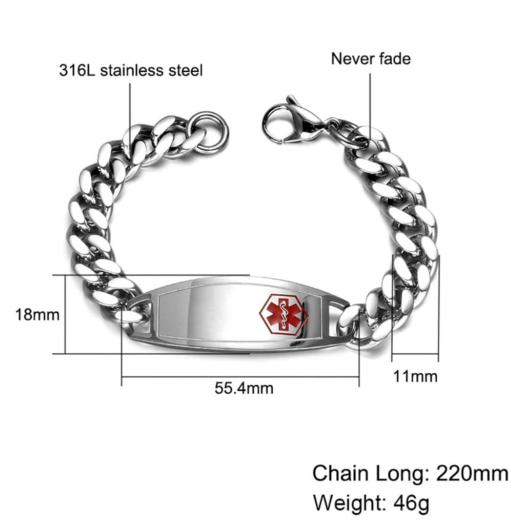 Medic Alert Bracelet Chains Men Bracelets Stainless Steel Curb Chain Tag Medical Signs