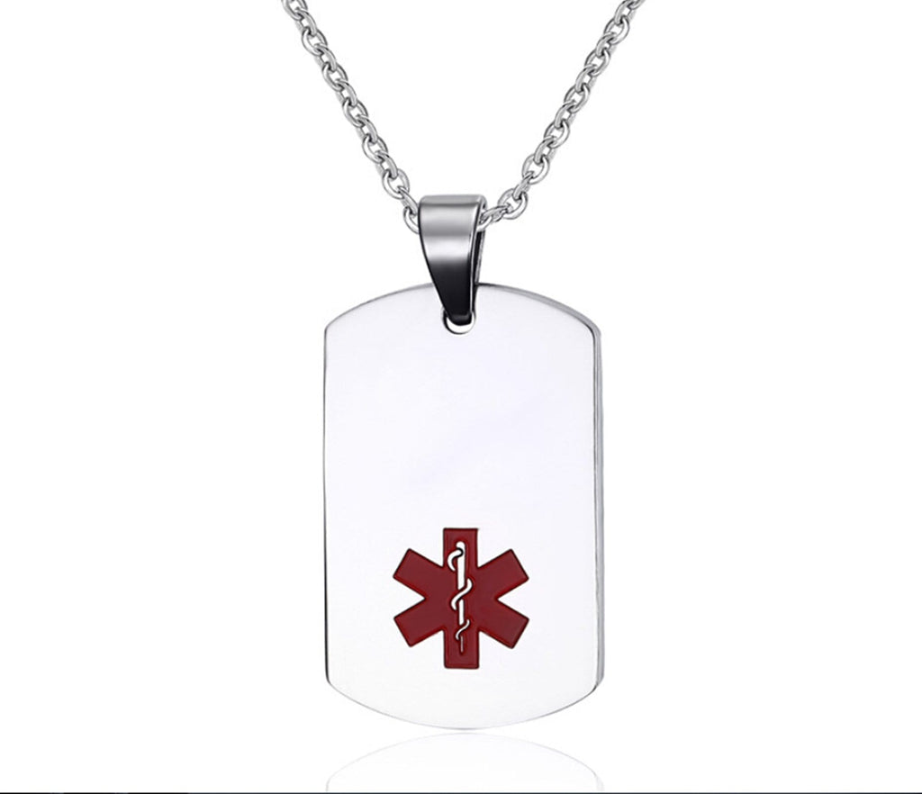 Medical Necklace for Men Stainless Steel Necklace for Women Pendant Dog Tag Medical Signs