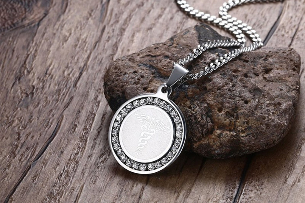 Medical Necklace Women Mens Necklaces Stainless Steel Coin Pendant Medical Signs Cubic Zirconia