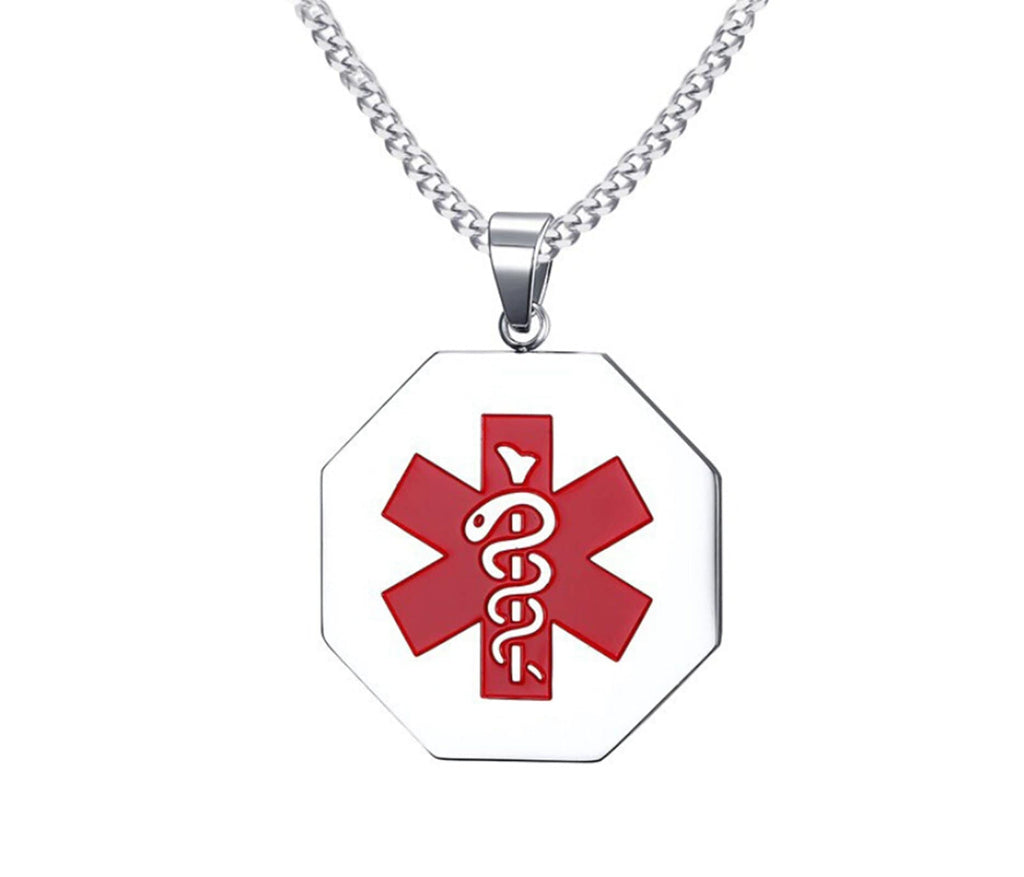 Medical Necklaces for Women Stainless Steel Necklaces for Women Polygon Pendant Medical Signs