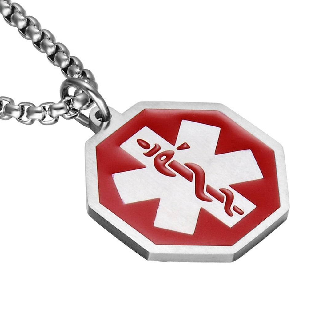 Medical Alert Necklace Men Stainless Steel Pendants for Men Polygon Pendant Medical Signs