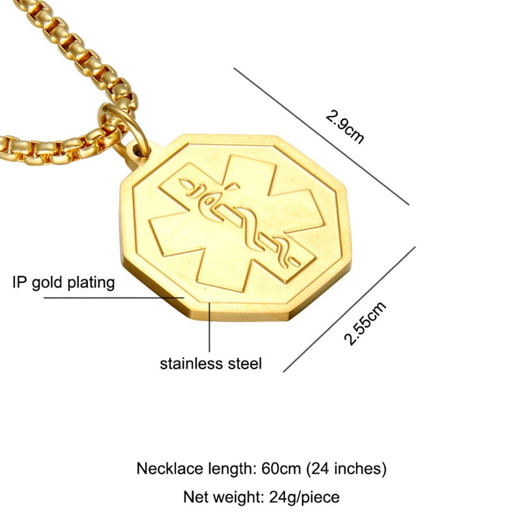 Medical Id Necklace for Women Necklace for Men Stainless Steel Polygon Pendant Medical Signs