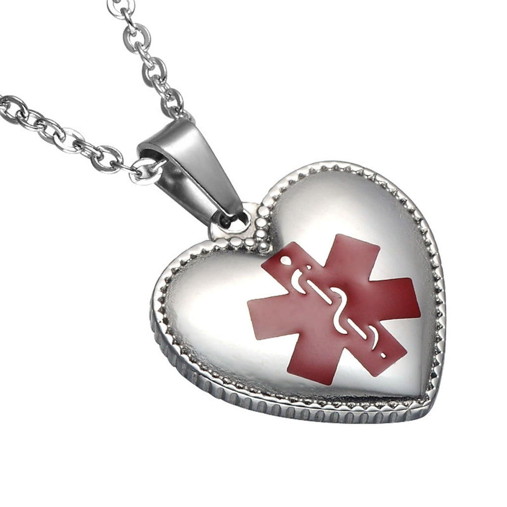 Medical Id Tag Necklace Stainless Steel Necklace for Women Heart Pendant Medical Signs