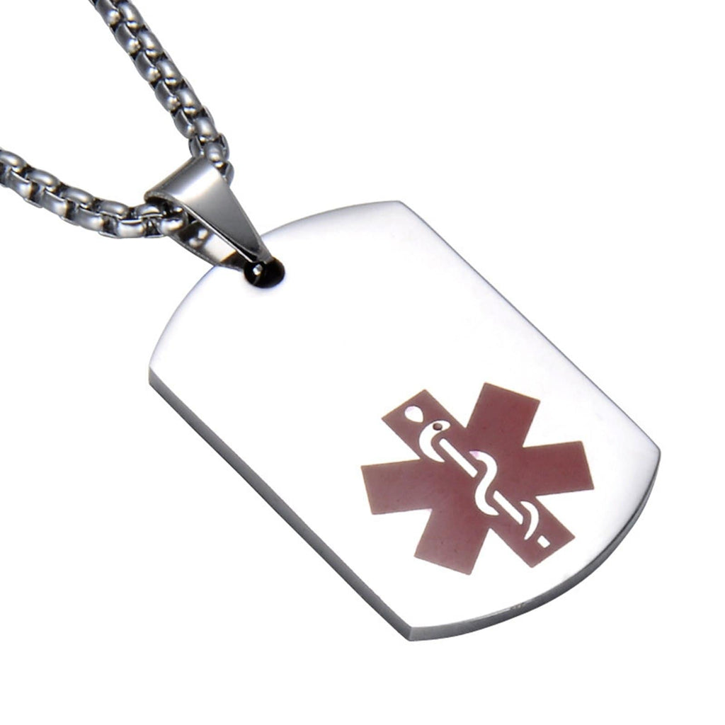 Medical Necklace for Men Necklace Stainless Steel Women Dog Tag Medical Signs