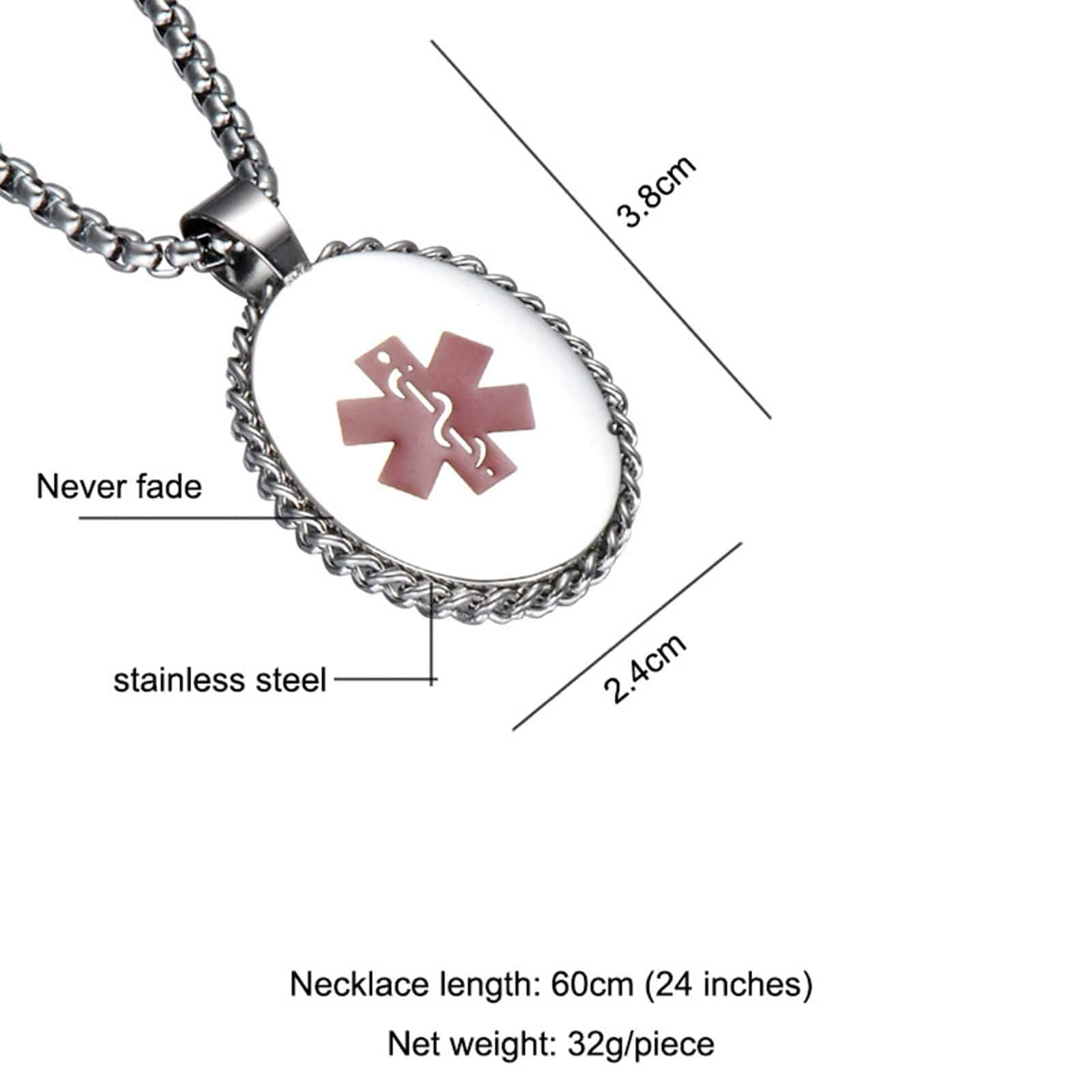 Medical Necklace Women Stainless Steel Necklace Pendant Chain Oval Pendant Medical Signs