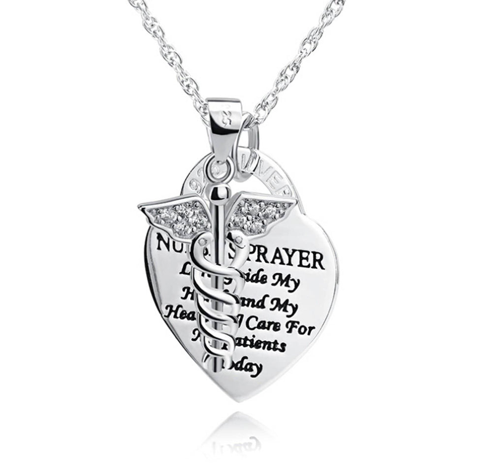 Medical Necklace Silver Medical Necklace Women NURSE'S PRAYER Heart Double Snake Stick CZ