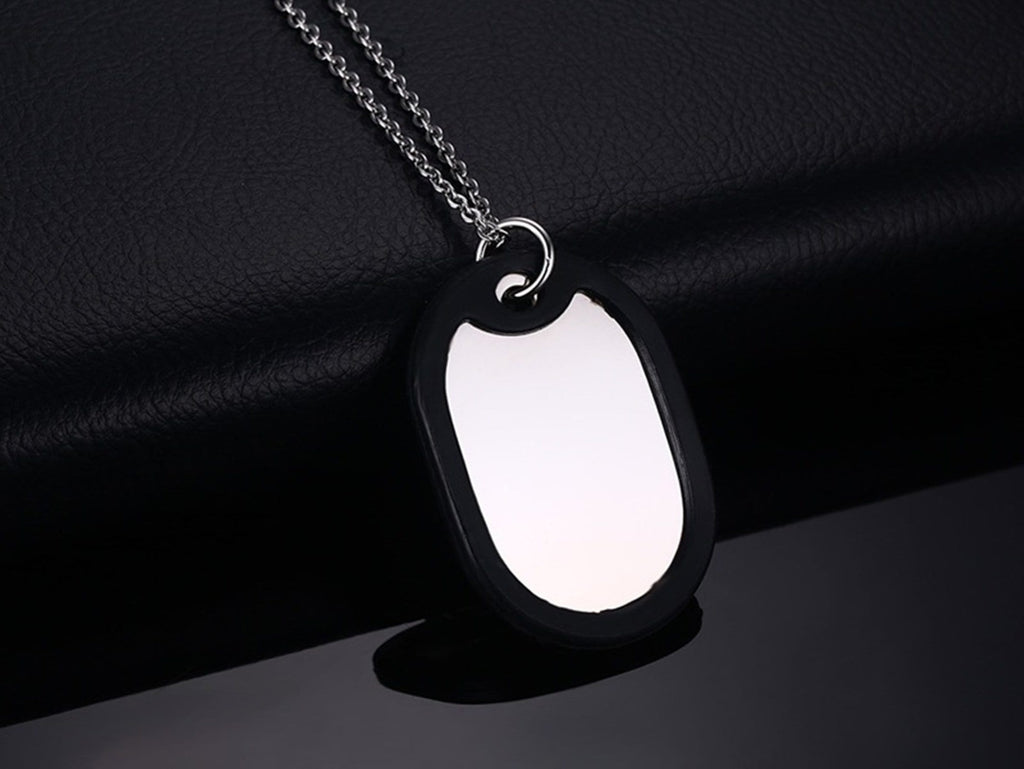 Medical Alert Necklace Dogtag Stainless Steel Necklace Women Silicone Dog Tag Medical Signs