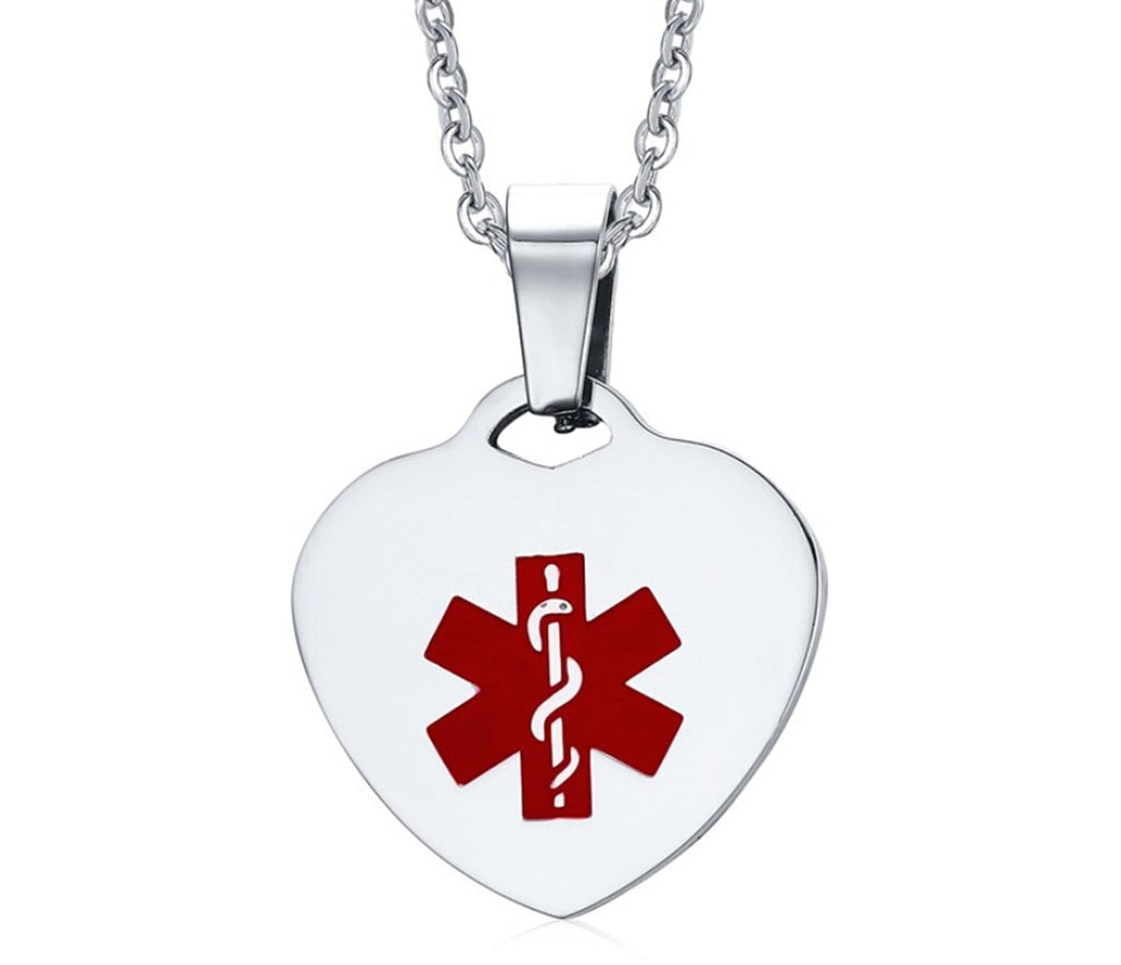 Medical Necklaces for Women Necklaces Stainless Steel Heart Pendant Medical Signs