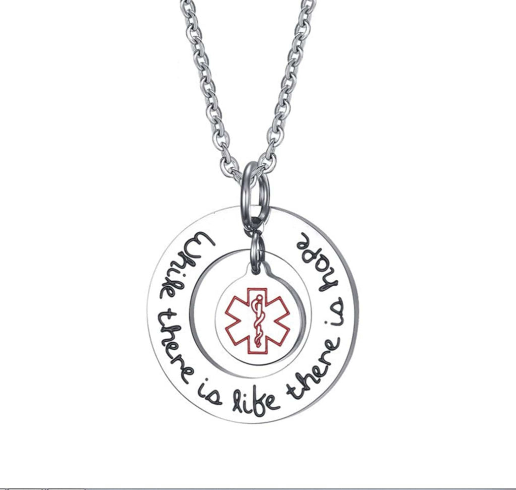 "Medical Id Necklace Men ""While there is like, there is hope"" Double Round Pendant"