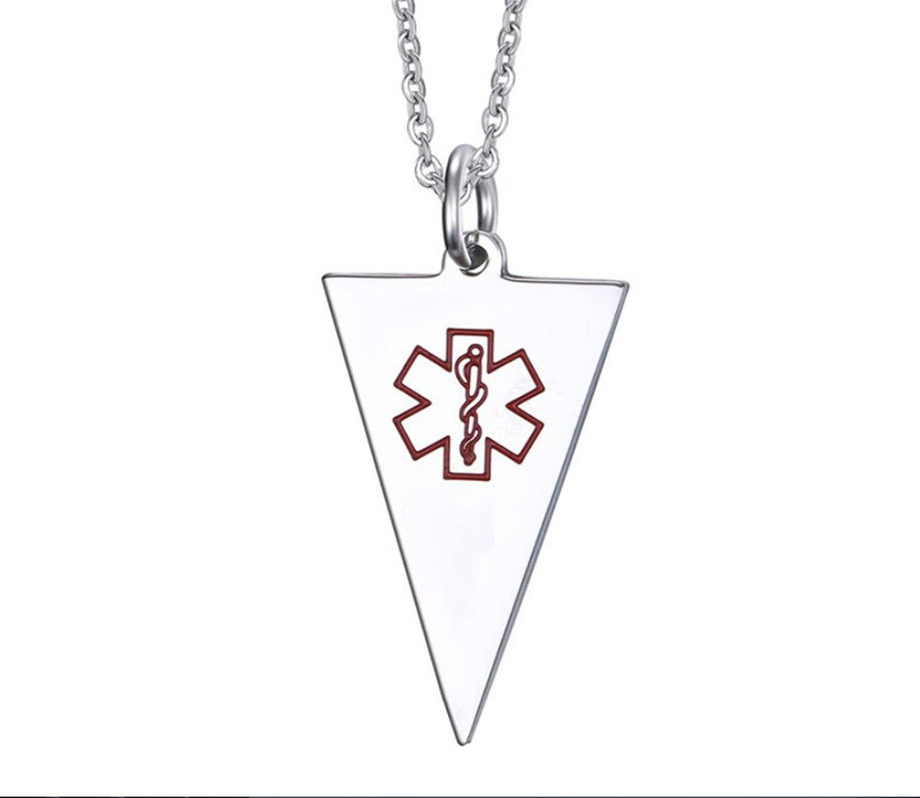 Medical Alert Necklace Men Men Stainless Steel Necklace Pendant Triangle Pendant Medical Signs