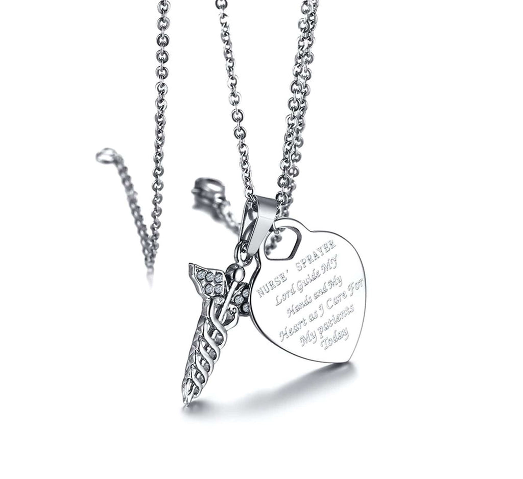 Id Necklace Women Necklaces Stainless Steel NURSE'S PRAYER Heart Double Snake Stick Crystal