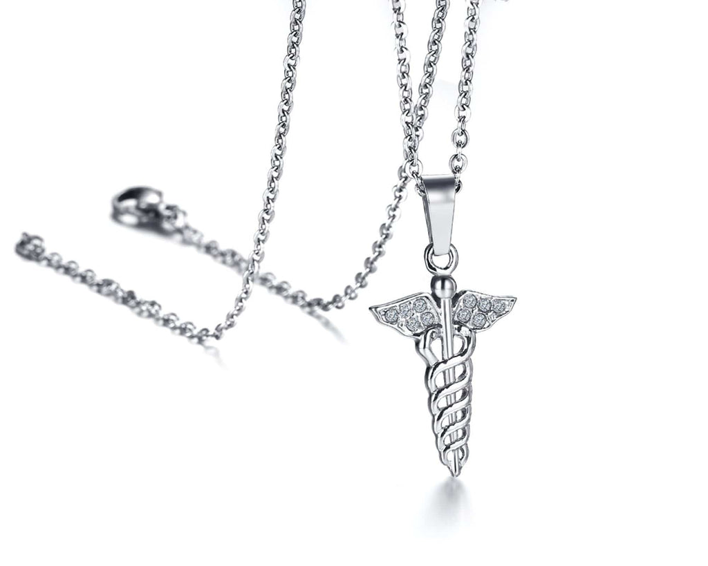 Medical Necklaces for Women Men Stainless Steel Necklace Pendant Double Snake Stick Crystal