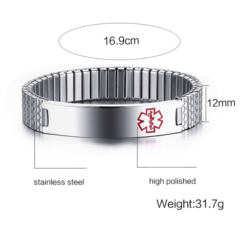Medical Bracelet Id Mens Stainless Steel Bracelet Chain Metal Bar Medical Signs