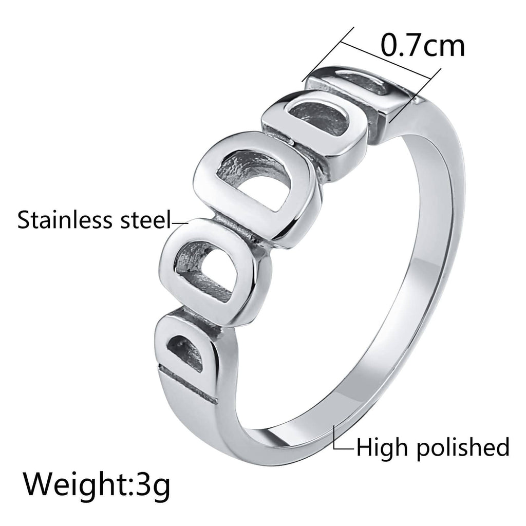 Thumb Rings for Men Stainless Steel Bands Hollow Letter D.Silver Size 7-11