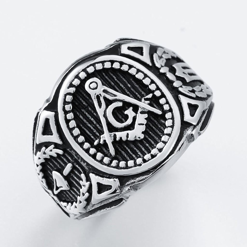 Rings for Men Freemason Stainless Steel Punk Masonic G Silver Size 7-12