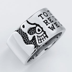 Men Rings Silver Stainless Steel Gold Skull Engraving Text Size 7-11