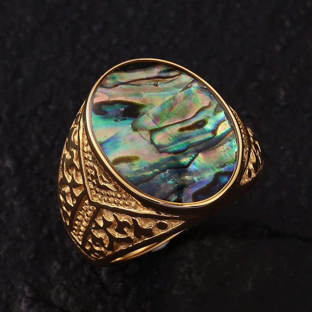 Men Rings Gold Stainless Steel Punk Bands Colorful Opal Size 7-11