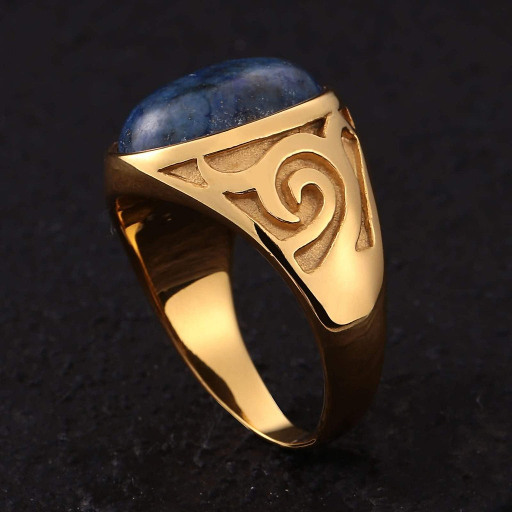 Men Rings Titanium Stainless Steel Oval Dark Blue Opal Gold Size 7-11