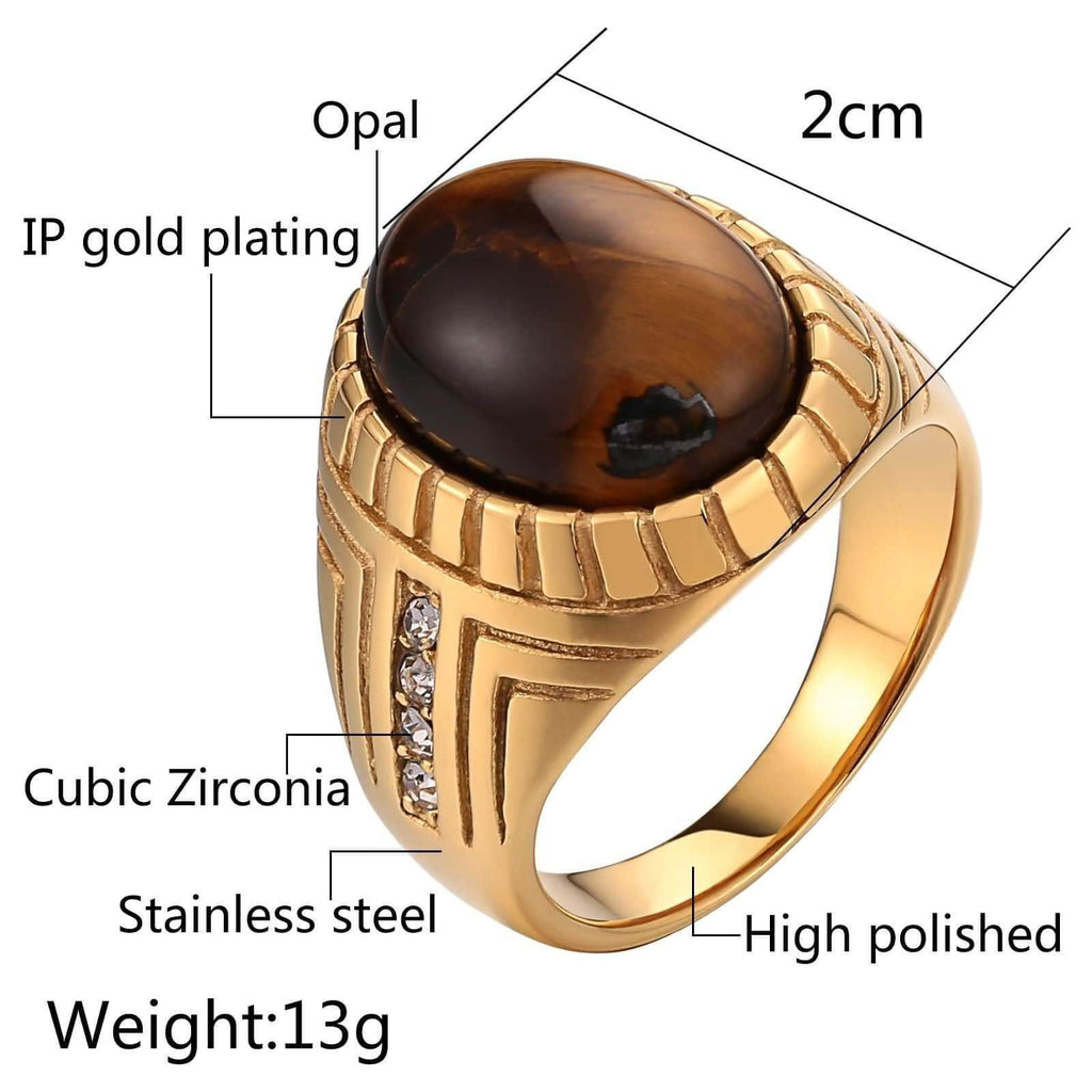 Rings for Men Stone Stainless Steel Punk Oval Opal Zircon Gold Size 7-12