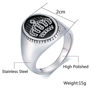 Stainless Steel Rings Crystal Punk Bands Oval Crown Silver Size 7-12