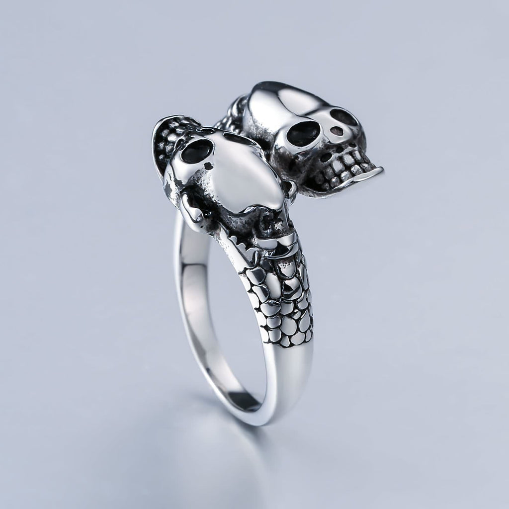 Punk Rings Jewelry Stainless Steel Punk Rings Skull Silver Size 7-12