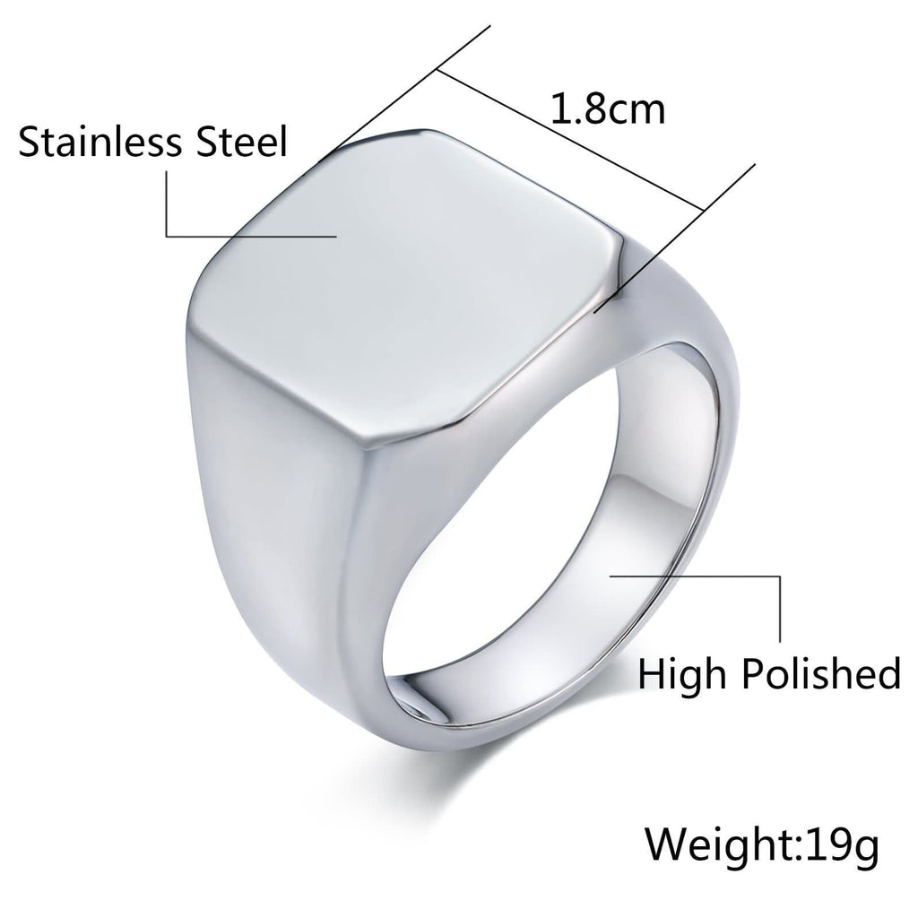 Men Rings Bands Stainless Steel Smooth Rectangle 18MM Silver Size Gold Black 7-12
