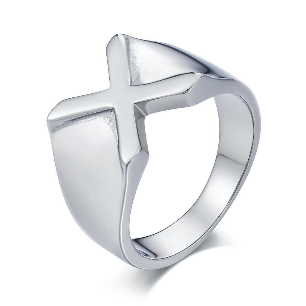 Men Rings Initial Stainless Steel Punk Letter X Silver Size 7-12