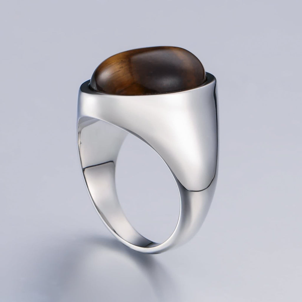 Rings for Men With Stones Stainless Steel Opal 21MM Silver Brown Size 7-12