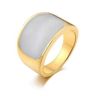 Stainless Steel Rings Men Punk Gray Opal 15MM Gray Us Size 7-12