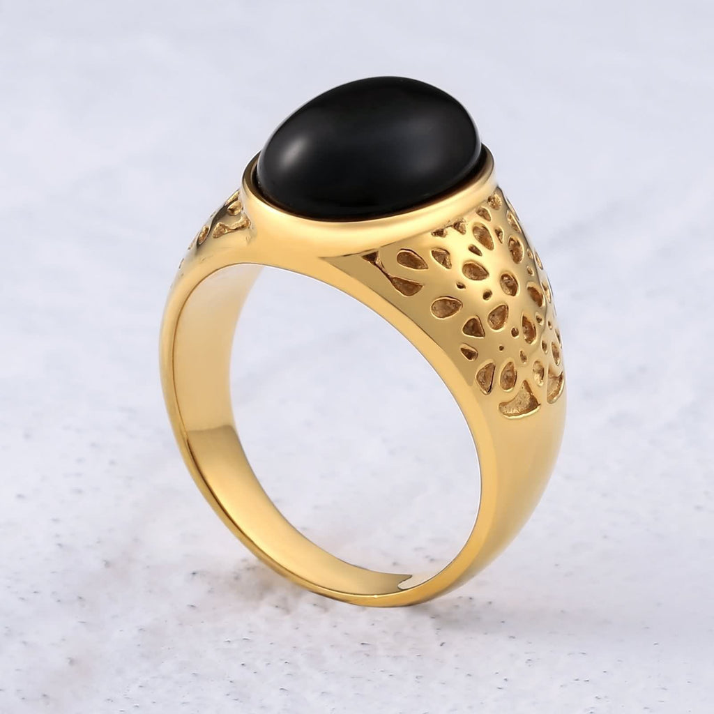 Men Rings Viking Stainless Steel Polished Oval Opal 18MM Black Size 7-12