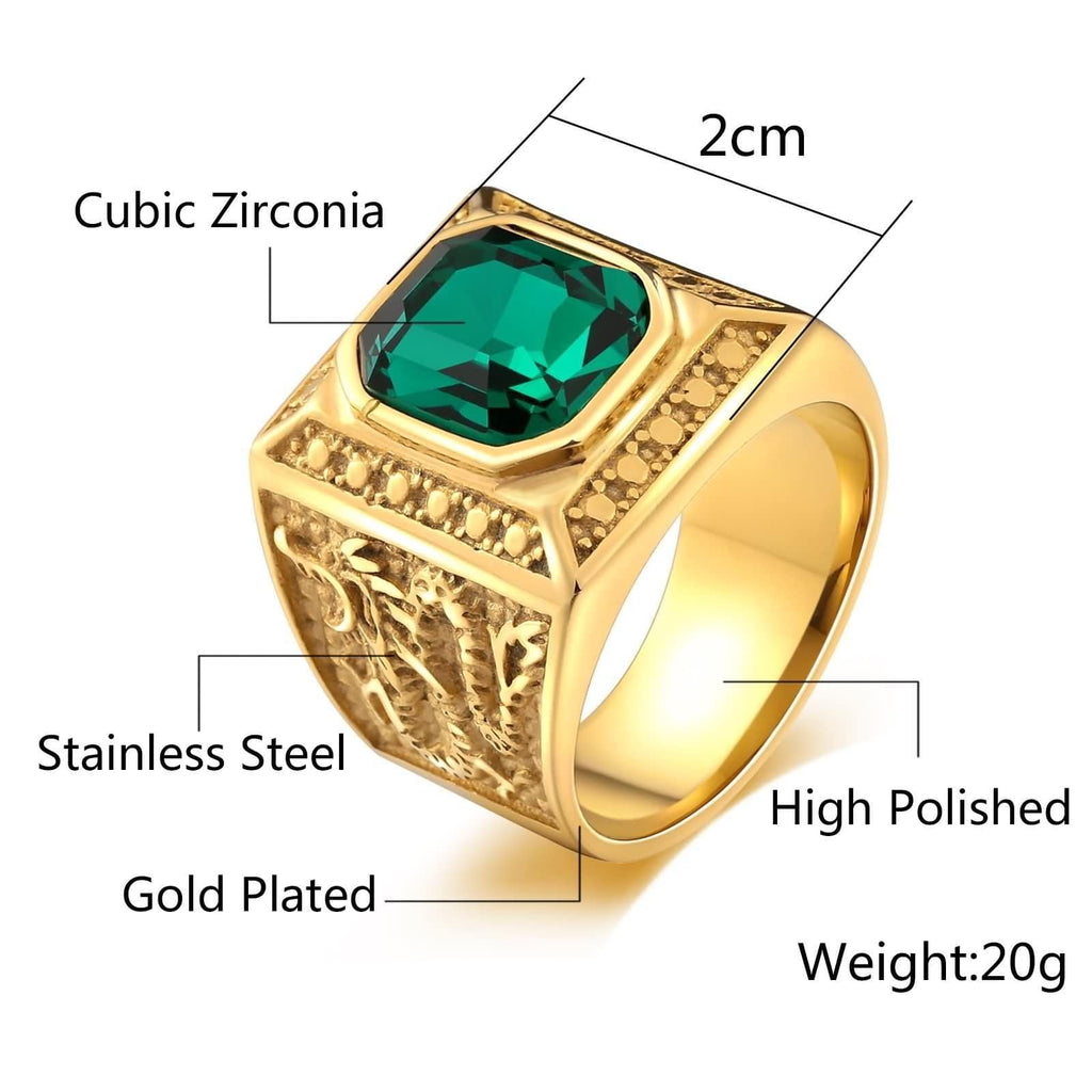 Rings for Men Green Stone Stainless Steel Punk Rectangle Cz Dragon Size 7-12