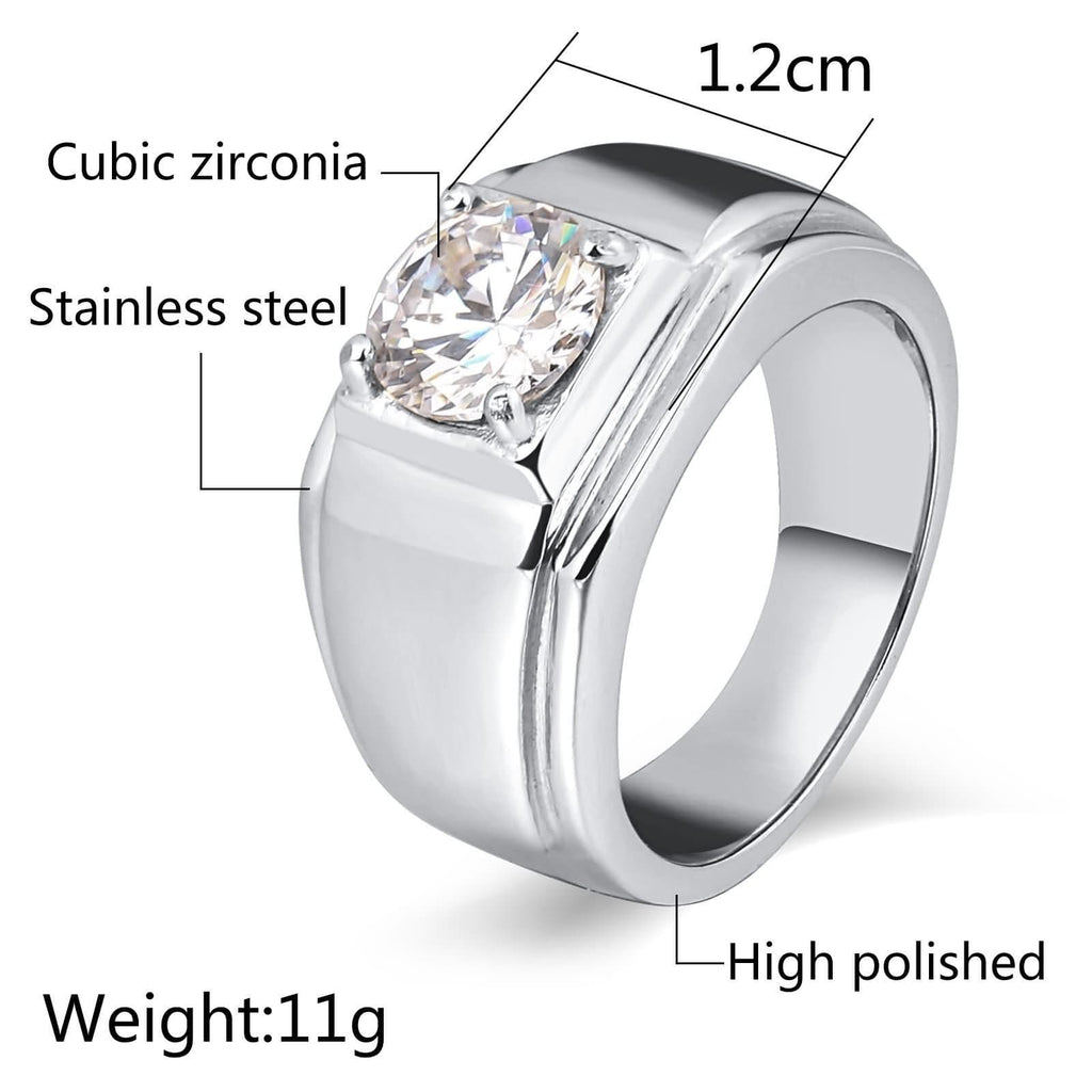 Men Rings Punk Stainless Steel Punk Cz 10MM Rectangle Silver Size 7-12