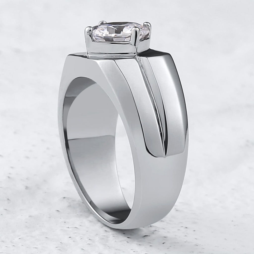 Finger Rings for Boys Stainless Steel Zirconia Polished 10MM Silver Size 7-12