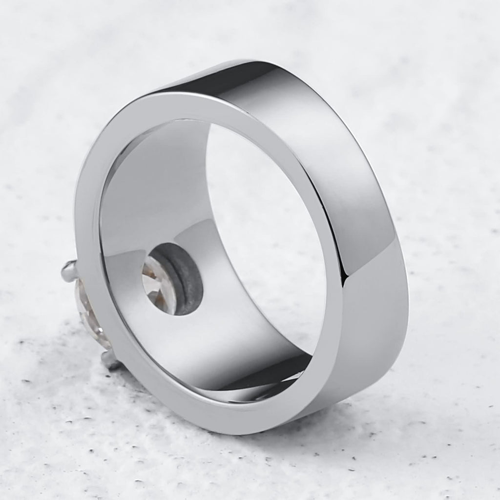 Men Rings Wedding Stainless Steel High Polished Round 10MM Silver Size 7-12