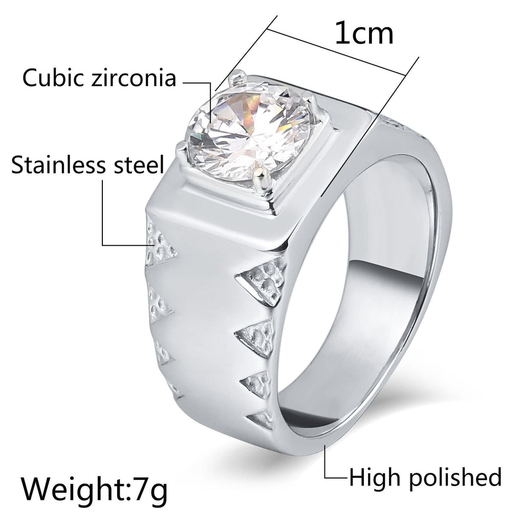 Men Rings Promise Stainless Steel Punk Round 10MM Silver Us Size 7-12