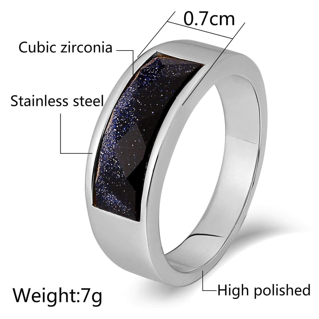 Punk Rings for Men Stainless Steel Punk Purple Cz Round 7MM Silver Size 6-12