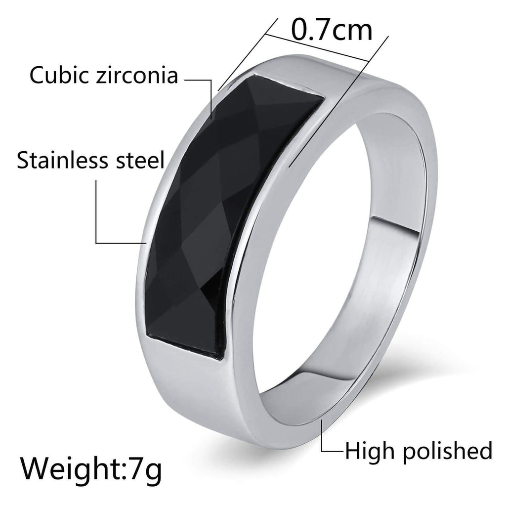 Gold Men Rings Stainless Steel Cz Polished 7MM Silver Size 6-12
