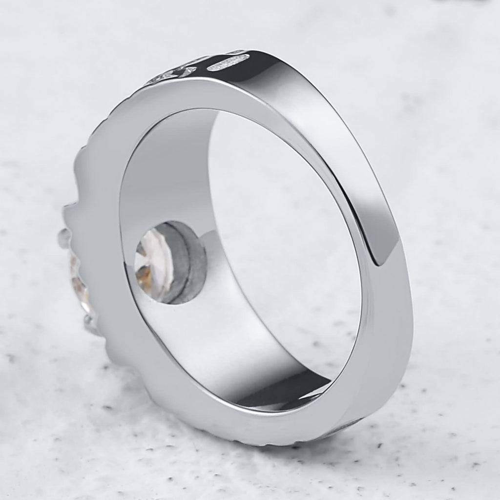 Rings for Men Christian Stainless Steel Punk Rings Zirconia Round 8MM Silver 7-12