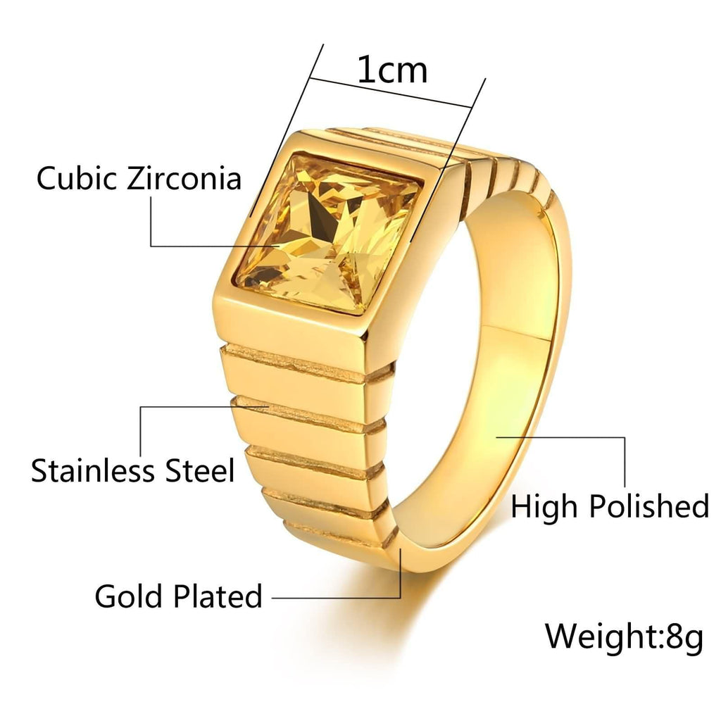 Stainless Steel Men Rings Graduation Gifts Punk Cz 10MM Size 7-12