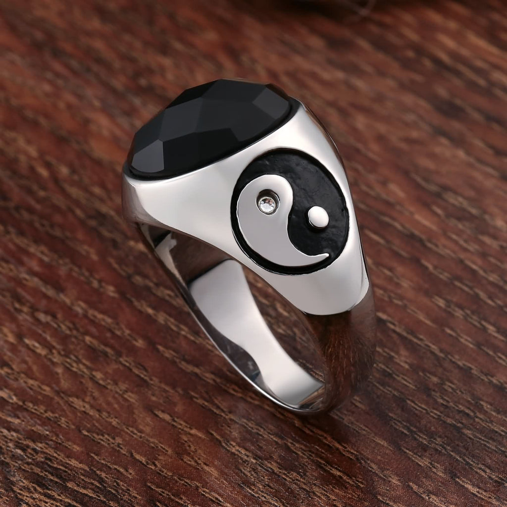 Men Rings Engraved Personalized Stainless Steel Black Cz Yin Yang Oval 18MM Size 7-12