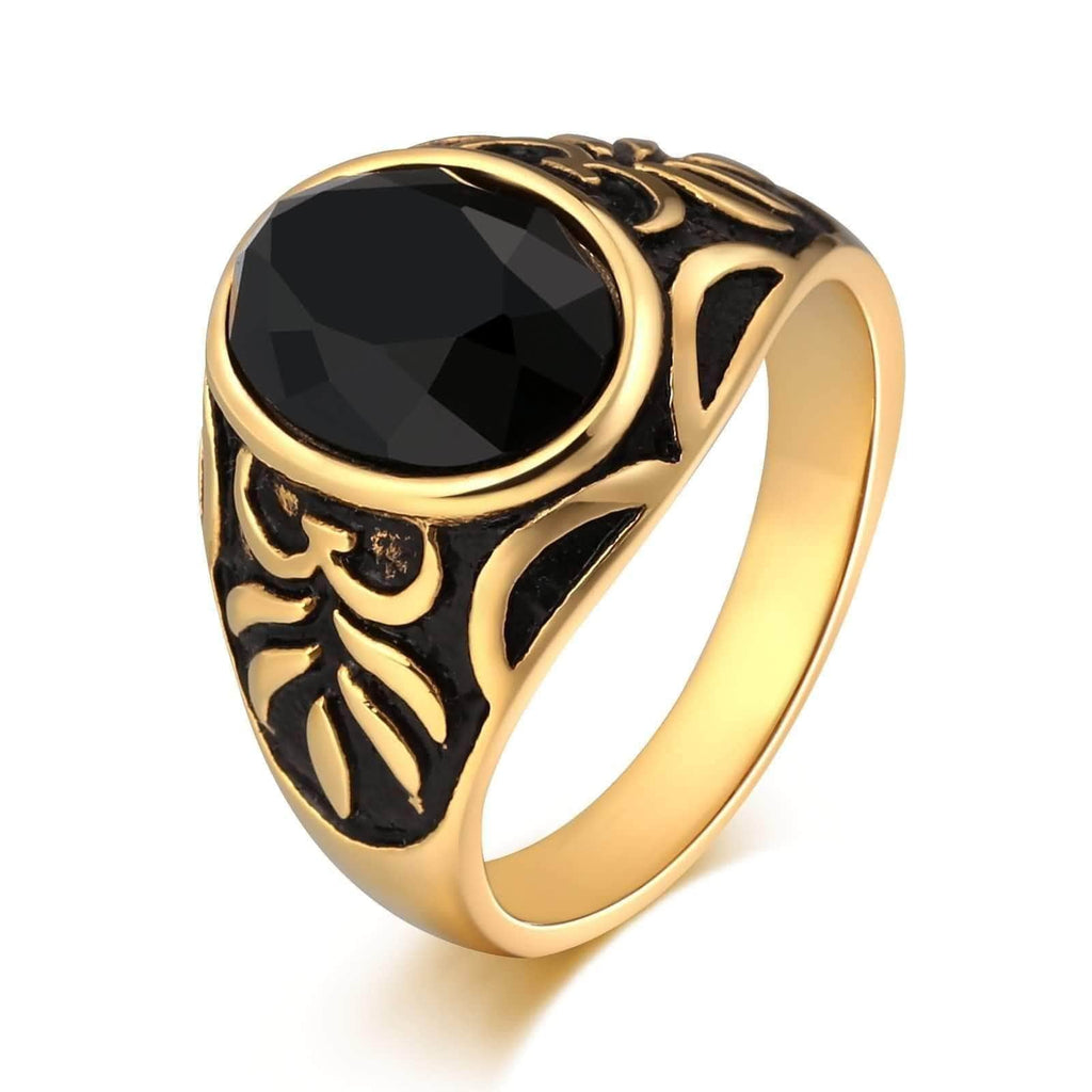Rings for Men Wedding Stainless Steel Totem Black Cz Oval 18MM Size 7-12