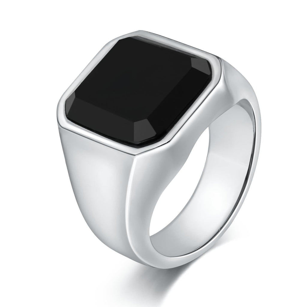 Rings for Men With Stones Stainless Steel Black Cz Square 17MM Silver Size 7-12